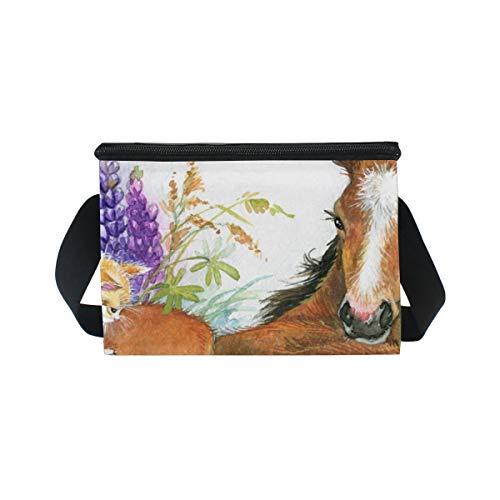 y correa almuerzo Bolsa en para de para caballo flores hombro fiambrera picnic gato de BgIwvIq5