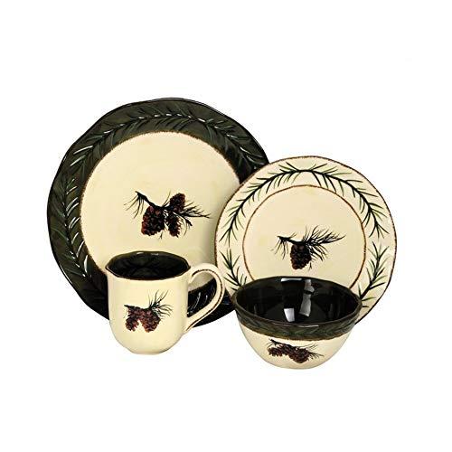 (16 Piece Ceramic with Platinum Rim Dinnerware Set)