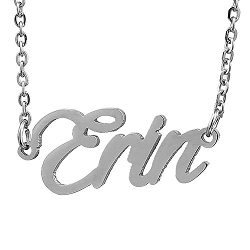 HUAN XUN Stainless Steel Simple Style Name Necklace, Erin