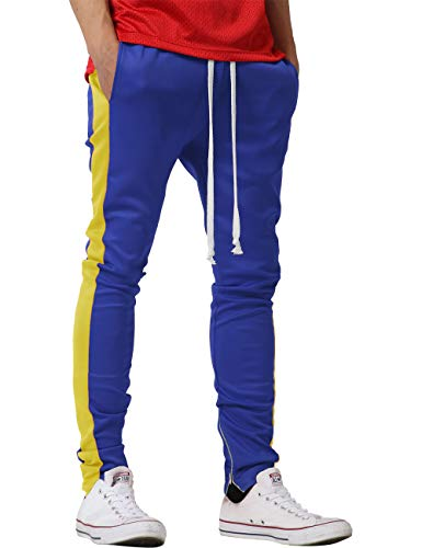 - Mens Track Pants Two Tone (Medium, 1vw19_Royal Blue/Yellow)