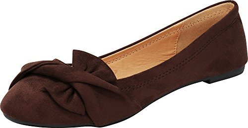 Ballet Women's Flat Toe Knot Bow Brown Imsu Select Round Cambridge Slip on q5tw8zXnX
