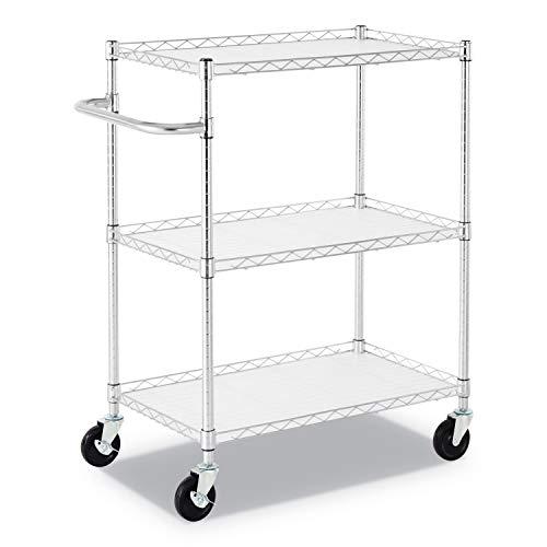 Alera ALESW333018SR 3-Shelf Wire Cart with Liners, 34 1/2'' x 18'' x 40