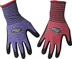 2 Pair Womens Garden Gloves Comfortable Dotted palms for good grip (Small)