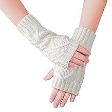 KUKOME Women Winter Fingerless Gloves Warm Knitted Hand Wrist Warmer Mitten