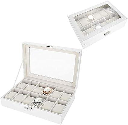 12 Grids Caja de Almacenamiento de Relojes Blanco, Estuche de Joyeria para Organizadora y Exhibición, Cuero de Pu: Amazon.es: Belleza