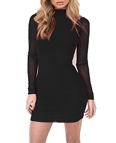 mesh and lace bodycon dress - 4