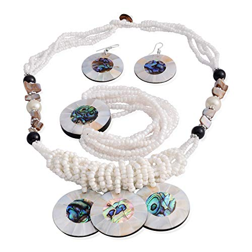 Shop LC Delivering Joy Strand Bracelet Dangle Drop Earrings Statement Necklace Pendant Shell Multi-Row Layered Seed Bead Jewelry Set for Women Stainless Steel