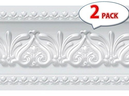 [Pack of 2] Royal Tulip Peel and Stick Wall Border Easy to Apply (Neutral Gray) -