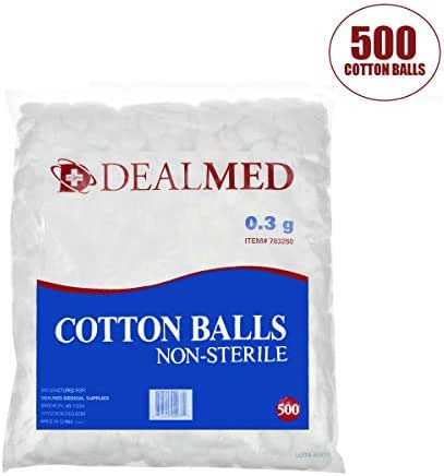 Dealmed Brand Cotton Balls Non-Sterile Conveniently Packed in Zip-Locked Bag 500 per Bag