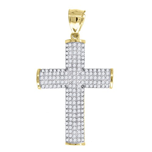 old Two-tone CZ Mens Cross Ht:43.7mm x W:24.7mm Religious Charm Pendant. Set with Cubic Zirconia that is white in color. ()