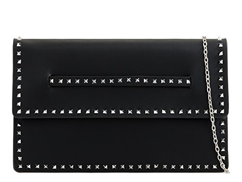 Women's Studded Stylish Black Clutch KL2246 Purse Party Ladies Bag Fx Leather Evening Handbag UYanwWWqt