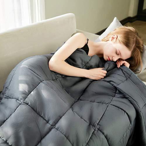 "Bertte 2.0 Weighted Blanket (60""x 80"" Queen Size, 15 lbs, Dark Grey) for Adults, Women, Men, Children Deep Sleep| 100% Natural Cotton with Glass Beads Inner Layer"