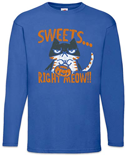 Urban Backwoods Sweets Right Meow Long Sleeve T-Shirt Royal Blue -