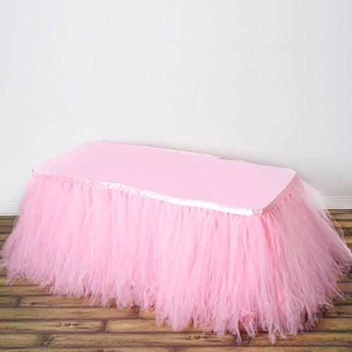 Efavormart 21ft FULL SIZE 8 Layer Fluffy Tulle - Tutu Table Skirt - Rose Quartz Pink Tulle Vanity