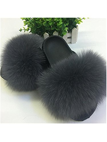 Jwhui Dark Ladies Hot Furry Flats Size Fox Fur Hair Shoes Sale fox hair Home 45 Slippers Women Large Cute Summer Sliders Grey Fluffy Sweet Plush rnrOUqgwx