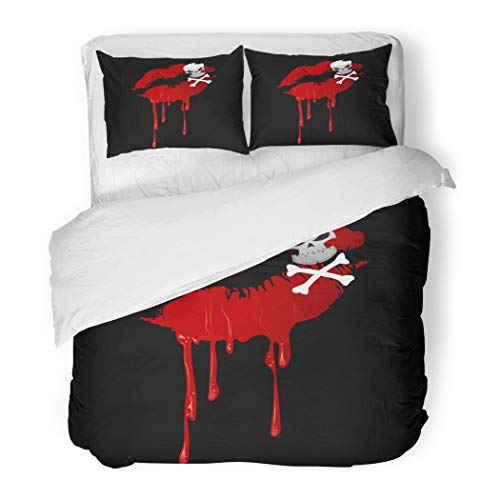 Emvency Bedding Duvet Cover Set Twin (1 Duvet Cover + 1 Pillowcase) Abstract Bloody Red Kiss Lips Skull and Crossbones Makeup On Beauty Hotel Quality Wrinkle and Stain Resistant]()