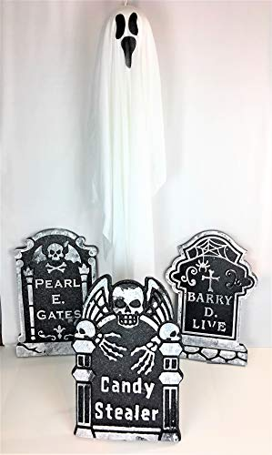 Greenbriar Halloween Holiday Home or Haunted House Prop Decorations | 3 Graveyard Tombstones and 1 Hanging Scary Ghost | Bundle Set of 4 Items
