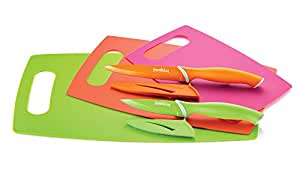 Sunkist set of 3 nonskid cutting mats with 2 nonstick knives with sheaths (SAK3837)