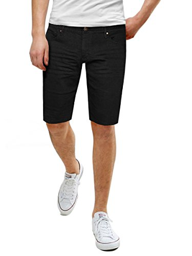 Men's Super Comfy Stretch Fit Denim Shorts ASHL26131 PK15 Black - Jean Black Belted