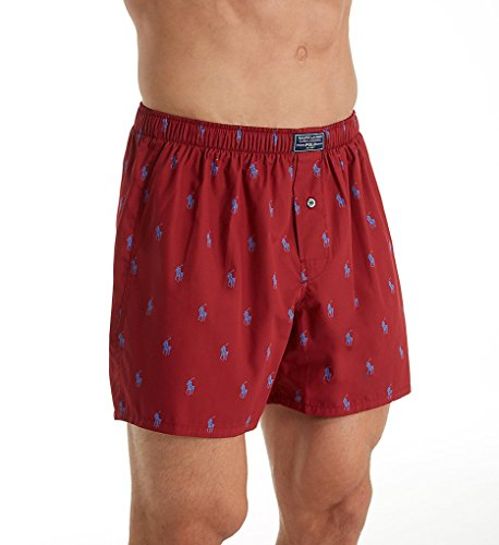 Printed Cotton Boxer (Polo Ralph Lauren Printed Polo Player 100% Cotton Boxer (R382HR) M/Red Sienna/Blue)