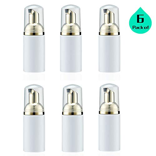 1 Oz 30ML Plastic Travel Foaming Soap Dispenser with Gold Pump Empty Foam Bottles – Foamer for Refillable Castile Soap – BPA Free Pack of 6, White