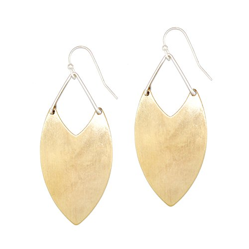 Pomina Geometric Chevron Oval Drop Earrings (Gold)