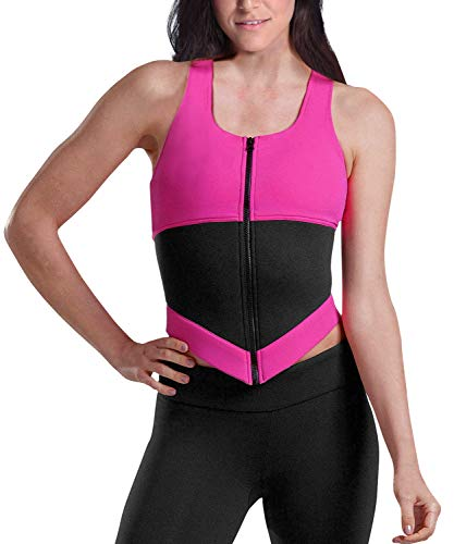 YIANNA Women Waist Trainer Vest Zipper Sauna Suit Tank Top Racerback Slimming Body Shaper Weight Loss Tummy Control, YA11888-Rose-2XL ()