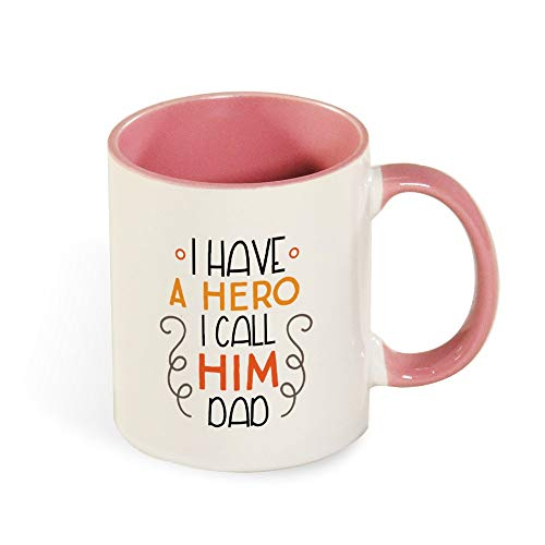 DKISEE Colorful I Have A Hero I Call Him Dad Coffee Mug Novelty 11oz Ceramic Mug Cup Birthday Christmas Anniversary Gag Gifts Idea - Black