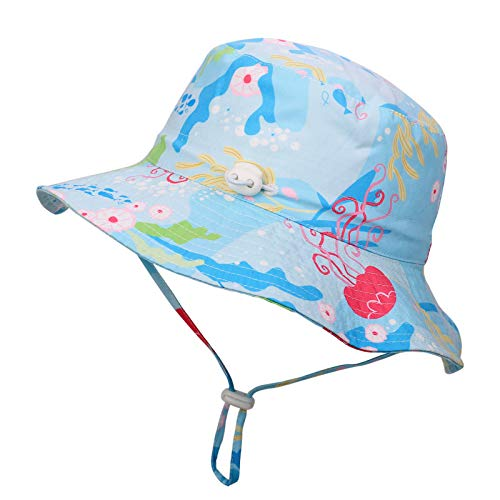 Flammi Baby Sun Bucket Hat Adjustable Mesh Lined UV Protection (Tag 52, 18 Months-3 Years, Jellyfish)