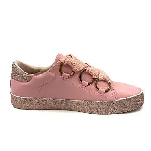Tacco Piatto Scarpe Moda Sneaker 2 Glitter Strass Comfortable Cm Rosa Anellos Donna Tennis Angkorly 6Svzgqzw