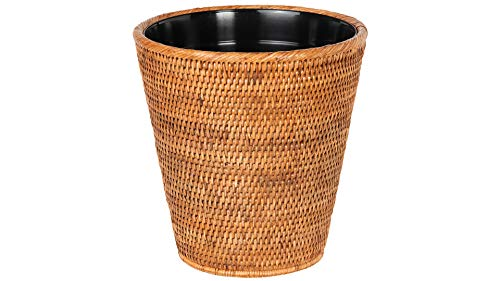 Kouboo La Jolla Rattan Plastic Insert, Honey-Brown Waste Basket