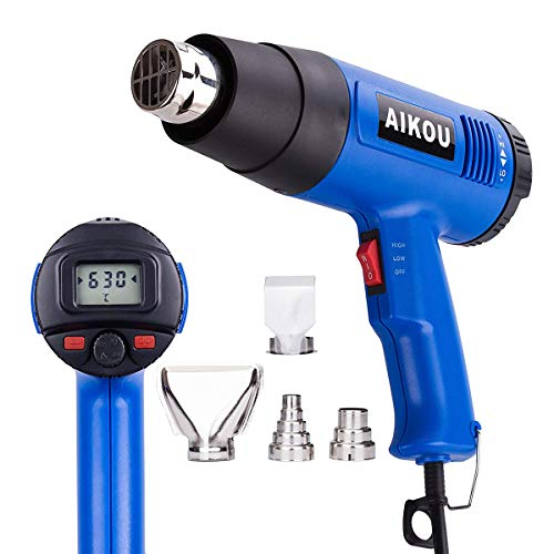 AIKOU Adjustable Temperature Hot Air Heat Gun with Rear Digital Display Fast Heating Blower Kits (Blue) ()