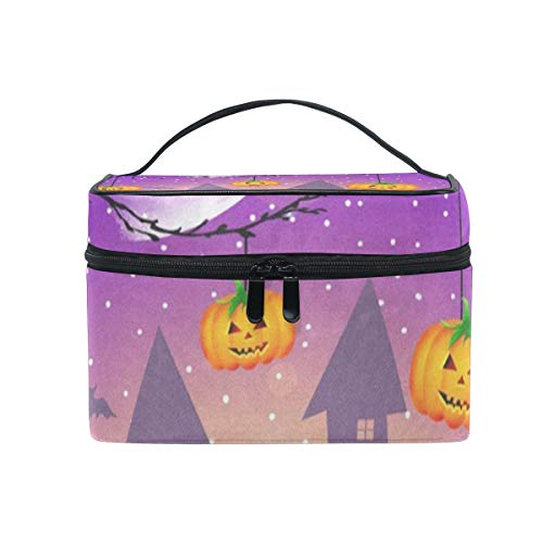 Travel Cosmetic Bag Halloween Pumpkin Owl Black Cat Toiletry Makeup Bags Pouch Tote Case Organizer Storage For Women Girls]()