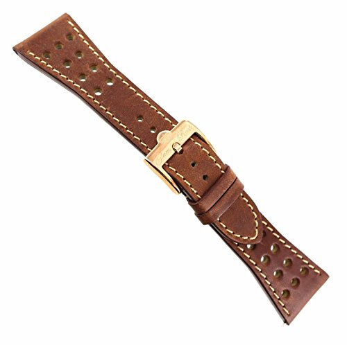26mm Glam Rock 9Hole Brown Genuine Leather Rose Gold Buckle Watch Band EZ (Rock Band Pins)