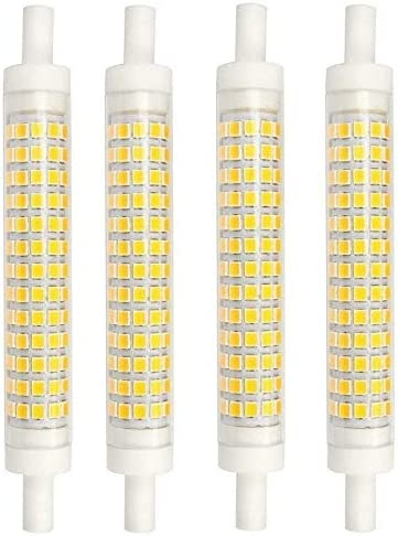 AscenLite 10W Dimmbare R7s LED Scheinwerfer Birnen 118mm Warm Weiß 3000K 360 Degrees Double Ended J118 R7s LED Lampe 75W Halogen Ersatz Vier Stücke