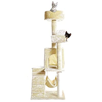"PET PALACE 51"" Cat Kitty Tree Scratcher Play House Condo Furniture Toy Bed Post House APL1064, Beige, Medium"