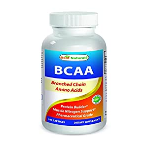 Best Naturals BCAA Branch Chain Amino Acid, 3200mg per serving, 200 Capsules Pharmaceutical Grade 100% Pure Instantized Formula | Pre/Post Workout Bodybuilding Supplement | Boost Muscle Growth