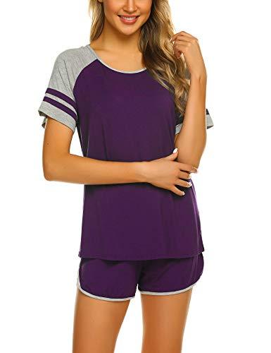 Ekouaer Women's Pajama Set Short Sleeve Sleepwear Pjs Sets Nightwear