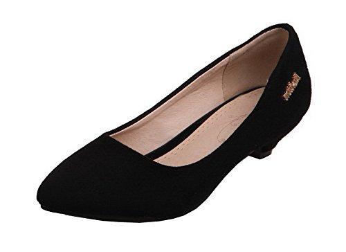 Suede Chaussures Shoes Légeres Couleur à Unie AgeeMi Femme Talon Noir Correct 0T78qwn