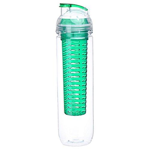AIHOME Tritan Bouteille d'eau avec infuseur de fruits 900ml en plastique de qualité supérieure sans BPA, avec un bouchon à visser anti-fuite et une poignée de transport