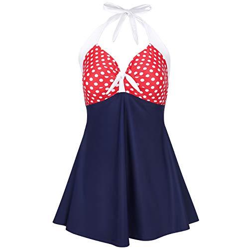 HDE USA Women's One Piece Swimdress Plus Size Tummy Control Boy Short Retro Swimsuit