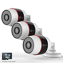 EZVIZ Husky HD 1080p Outdoor PoE & Wi-Fi Video Security Cameras, Works with Alexa, 3 x 16GB Micro SD– Three Pack (WiFi Connectivity - 2.4Ghz Only)