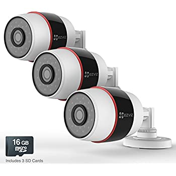 EZVIZ Husky HD 1080p Outdoor PoE & Wi-Fi Video Security Cameras, Works with Alexa, 3 x 16GB Micro SD- Three Pack (WiFi Connectivity - 2.4Ghz Only)