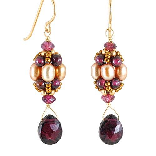Vintage Style Rhodolite Garnet Earrings with Cultured Freshwater Pearls in 14K Gold Filled