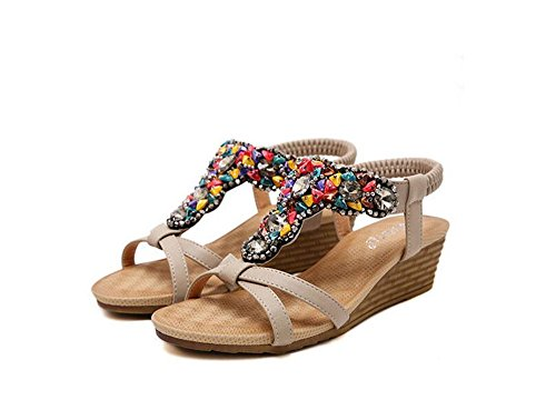 Sandals Slipper Flip Shoe Beach Size Women Plus Shoes Beige Flat pit4tk Women Flops Summer qgf86w