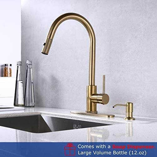 RKF Pull Down Kitchen Faucet with Sprayer,Single Handle High ArcPull Out Spray Head Kitchen Sink Faucets with Deck Plate and dispenser, Brushed Gold,PD01-0231 BG