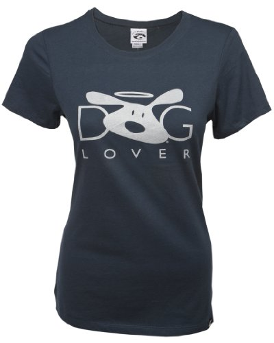 """Dog Lover"" Women's Silver on Blue Bolo Logo T-shirt"