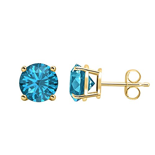 RUDRAFASHION Fancy Party Wear (3MM) Round Cut Swiss Blue Topaz Solitaire Stud Earrings 14K Yellow Gold Over .925 Sterling Silver For Women's & Girls