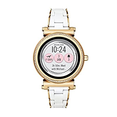 Michael Kors Access, Women's Smartwatch, Sofie Gold-Tone Stainless Steel with White Silicone, MKT5039 by Michael Kors Connected Watches Child Code