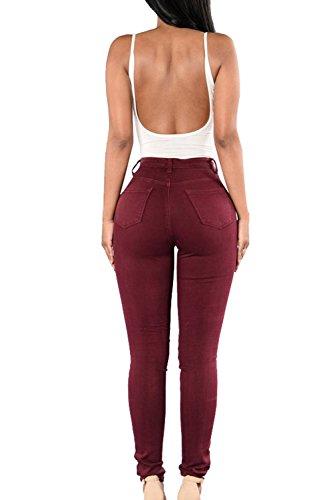 Bodycon Winered Alta Pantalones Distressed Plus Denim Pantalones Vaqueros Cintura Largo Mujeres De Tamaño wFBOq
